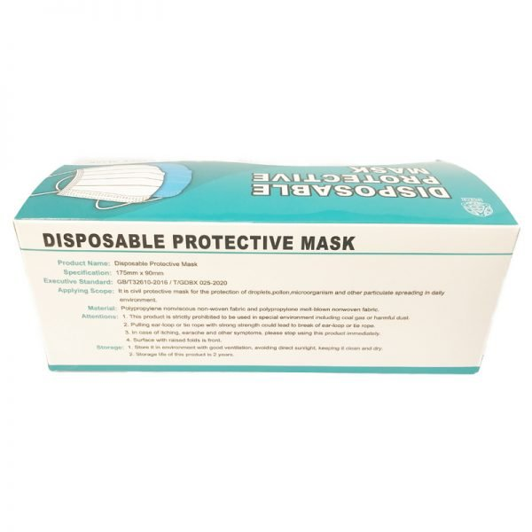3-ply face mask box back